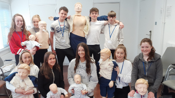 Students take part in cardiac arrest first response training during the TY Programme