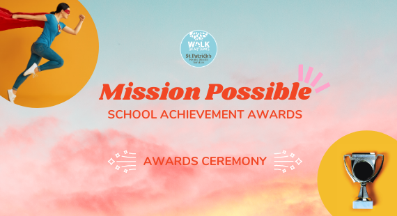 "This image shows a woman dressed in a superhero outfit and a trophy on yellow backgrounds, with the text ""Mission Possible School Achievement Awards"" also on screen."